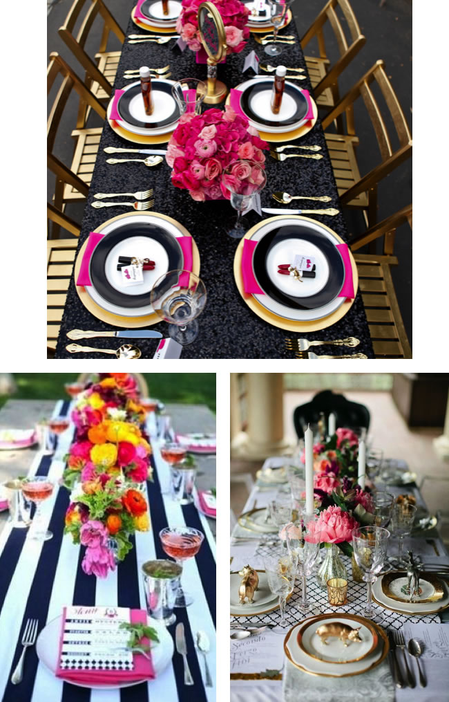 EverBloom: Black and white table setting