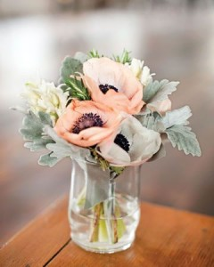 Anemone and ranunculus in a vase