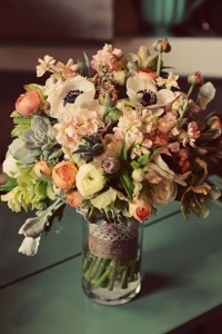Centerpiece with anemone, ranunculus and more