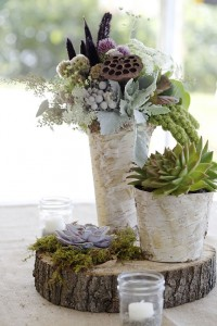 Centerpiece with birch containers