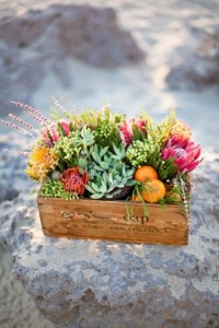 Centerpiece arrangement in a crate