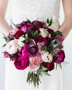 Deep peonies wedding bouquet by EverBloom Floral and Gift