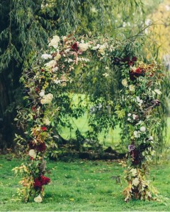 Floral garland on arch