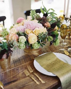 Gold container centerpieces