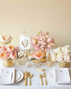 Gold and pink table setting
