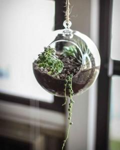 Hanging orb planter