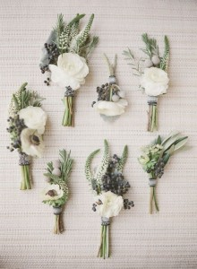 White/gray/green boutonnieres